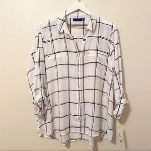 ✨NWT✨ Apt 9 Windowpane Roll Tab Shirt - White/Blk